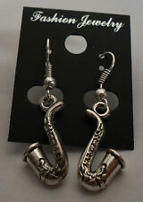 Saxophone Sax Saxaphone MUSIC Tibet Silver Earrings Silver French Hooks #E105