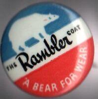 1950s pin the Rambler COAT pinback a BEAR for Wear button