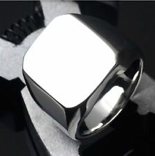 Solid Polished Mens Signet Rings Stainless Steel Biker Ring for Men Silver Gold