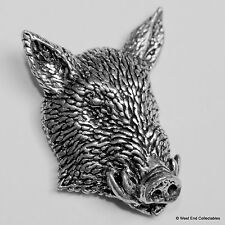 Wild Boar Pig Head Frontal Pewter Brooch Pin - British Artisan Signed Badge
