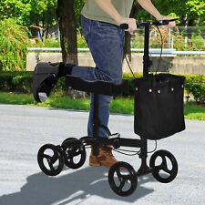 HOMCOM Medical Foldable Steerable Leg Knee Walker Scooter w/Basket - Black