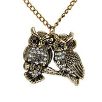 Women Vintage Crystal Double Owl Pendant Necklace Long Sweater Chain Jewelry ~