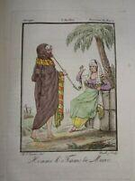 Gravure COSTUME COULEUR KABYLE MAROC ALGERIE ARABE ORIENTALISTE VOYAGE 1806
