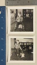 Vintage Photograph Two Photos Of Little Cowgirl With Gun 10a