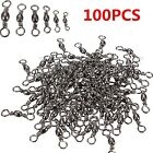 100PCS Fishing Barrel Bearing Rolling Swivel Ring Solid LB Lures Connector New