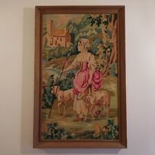 Tapisserie canevas laine tapestry canvas wool vintage signature VARNIER France