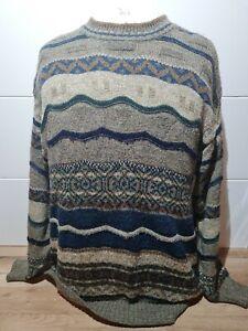 Men's Vintage 90's M&S St Michael Wool Alpaca Blend Patterned Jumper Large L