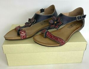 L' Artiste Womens Sandals SE-Iberis-BM Black Multi Flower Leather Thong Sz 5.5/6