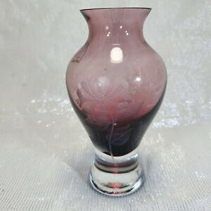 Vintage Caithness Glass Pink Honey Vase Etched Scotland Scottish Sticker Signed
