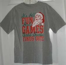 NWT Boys Gray Red Christmas Holiday Short Sleeve Crew Neck Cotton T-Shirt XXL 18