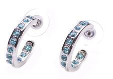 Ladies Chrome Hoop/Portland blu diamante incrostato Orecchini (zx69)