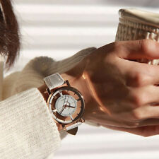 Fashion Women Ladies Stainless Steel Hollow Leather Quartz Analog Wrist Watch US