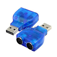 PS/2 Mouse Keyboard USB To Dual 2 PS2 PS/2 Converter Adapter Blue MO