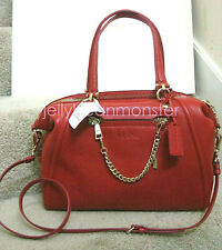 COACH 34362 PRAIRIE PEBBLED LEATHER WITH CHAIN SATCHEL CROSSBODY BAG Red