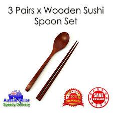 3Pairs x Bamboo Spoon Chopsticks Set Wooden Wood Sushi Light Weight Chop stick
