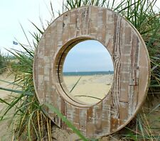 Distressed Round Porthole Reclaimed Wooden Pine Mirror 59cm Diam White washed