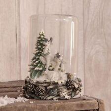 Hand Painted Reindeer Woodland Scene Cylindrical Snow Globe