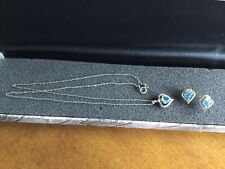 "10k Yellow & White Gold Blue Heart 18"" Necklace And Matching Pierced Earrings"