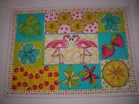 new place mat flamingo  placemat table bar solid back 13 x 18 yellow back t30