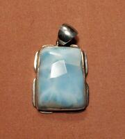Sterling Silver Light Blue Celestite Quartz Gemstone Pendant 23g