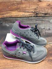 Crocs Women's 7W Retro Sneaker Shoes Lace Up Gray Purple Comfy Athletic Walking