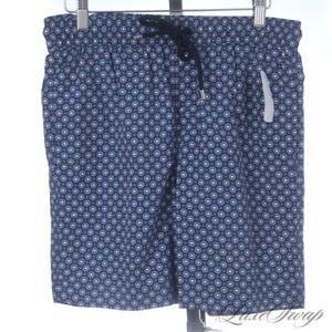 NWT Brooks Brothers Navy Blue Radiating Neat Floret Swim Trunks Bathing Suit S
