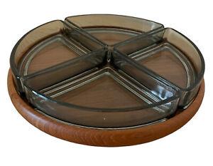 Vtg Digsmed 103 Lazy Susan Teak Wood Base Smoked Glass Dishes Scandi 60s (13
