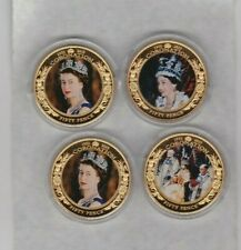 FOUR 2013 JERSEY 50 PENCE COLOURED CROWNS IN MINT CONDITION + CAPSULES