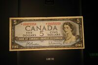 1954 Replacement $5 Dollar Bank of Canada Banknote *VS0372253
