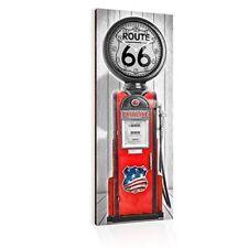 Orologio Da Parete in Legno Multicolore Stazione di Servizio Gasoline 30x80cm