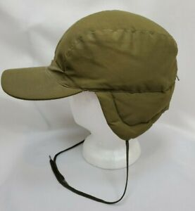 Vintage Eddie Bauer Goose Down Winter Hat Cap XL Green Ear Flaps Trapper Hunting