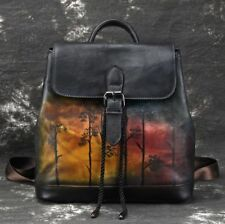 New Retro Women's Genuine Real Cow Leather Backpack Travel Bag Handbag Black