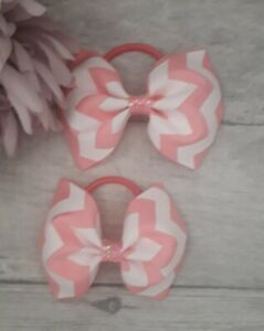 2 Girls White & Pink Chevron Hair Bows With Bobbles