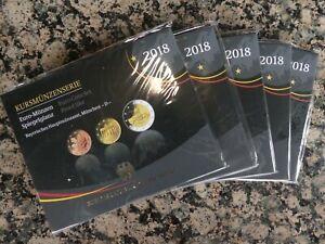 KMS Kursmünzensatz BRD 2018 Spiegelglanz PP alle Prägestätten A D F G J