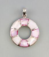 9925776 925er Silber Anhänger Perlmutt rosa 3x4cm