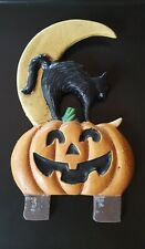 Midwest Of Cannon Falls Halloween Cat Pumpkin Cast Iron Door Knocker Topper Rare