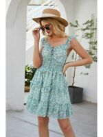 Party Floral beach Long Evening V Neck summer spring Fashion Cocktail Loose