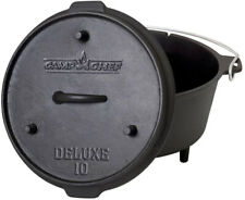 Preseasoned Dutch Oven Cast Iron 10 in. Lid Outdoor Camping Chef Cooking  Fire
