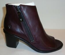 Frye Size 7 M BRIELLE ZIP PEEP BOOTIE Wine Leather Heeled Boots New Womens Shoes