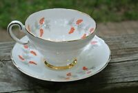 "Vintage Crown Staffordshire ""Eden"" Tea Cup and Saucer Orange Grapes"
