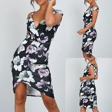 Womens Ladies Wrap Over Strappy Floral Cold Cut Shoulder V Neck Bodycon Dress
