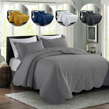 3 Piece Quilted Bedspread Set Bed Throw Comforter Double King Super King Sizes