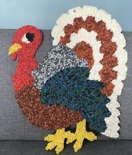 "Vintage Melted Popcorn Thanksgiving Plastic Holiday Decoration Turkey Large 21"""