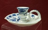 BRANDENBURG Porcelain China - BLUE ONION Pattern - CHAMBERSTICK / CANDLE HOLDER