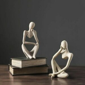 VILEAD Nordic Abstract Thinker Statue Resin Figurine Office Home Decoration Desk