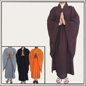 New Buddhist Monk Shaolin Dress Meditation Haiqing Robe Kung Fu Suit Long Gown