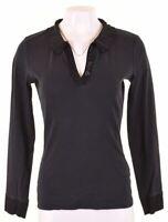NORTH SAILS Womens Polo Shirt Long Sleeve Size 14 Large Black Cotton  MO05