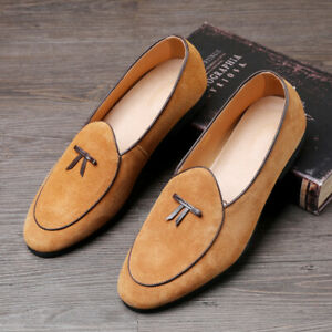 Mens Bow Knot Round Toe Loafers Shoes Suede Slippers Flats Slip On Dress Shoes