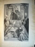 Carl WILDT (1830-1870) IMMENSE GRAVURE RELIGIEUSE MADONE MARIE JESUS PAPE 1851