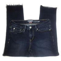 Levi's Denizen Modern Ankle Crop Stretch Dark Blue Jeans Raw Hem Roll Up Size 4